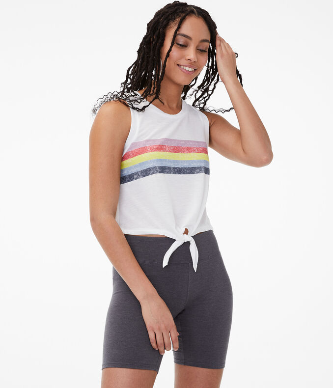 Chest Stripe Tie-Front Muscle Tank