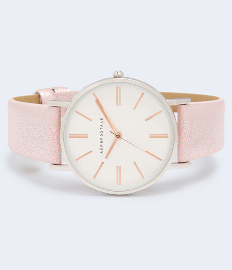 Metallic Faux Leather Analog Watch