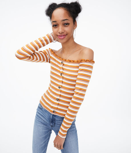 Long Sleeve Seriously Soft Striped Off-The-Shoulder Bodycon Top