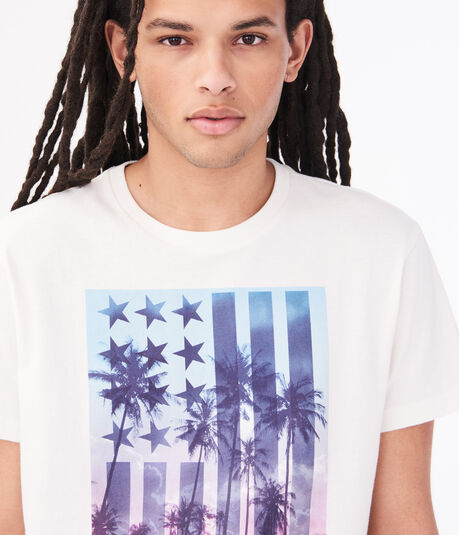 Tropical American Flag Graphic Tee