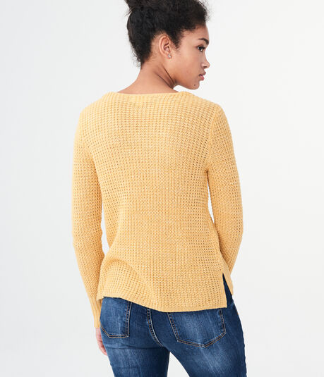 Shimmer Cutout V-Neck Sweater