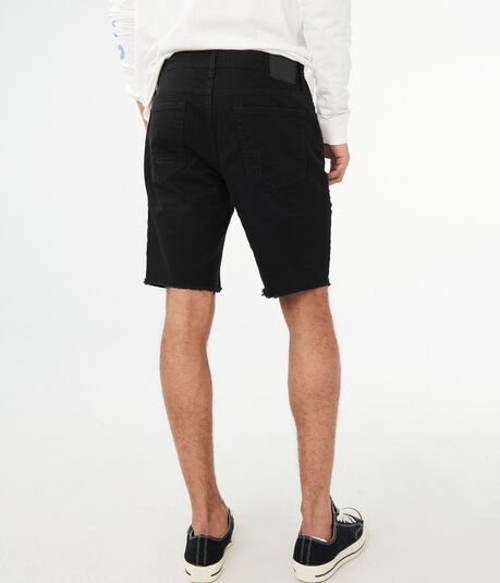 Black Destroyed Stretch Denim Shorts