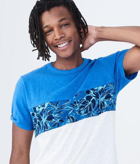 Floral Chest Stripe Graphic Tee