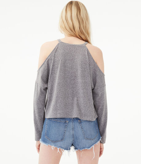 Long Sleeve Cold-Shoulder Sweater-Knit Crop Top***