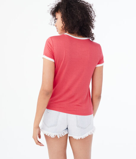 Seriously Soft Hibiscus Ringer Graphic Girl Tee