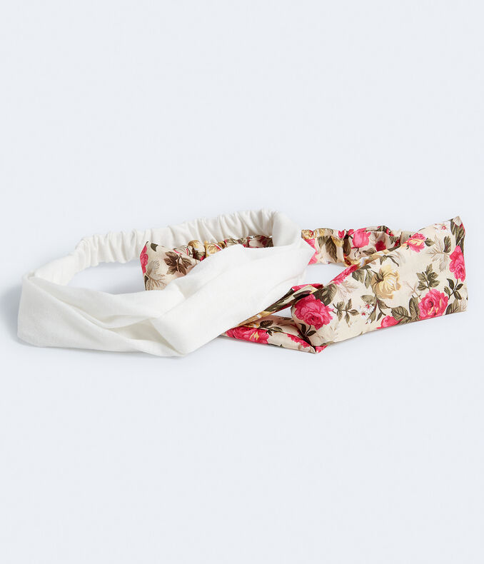 Floral & Solid Twist Headband 2-Pack