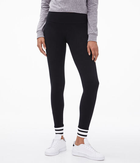 Striped-Cuff Leggings