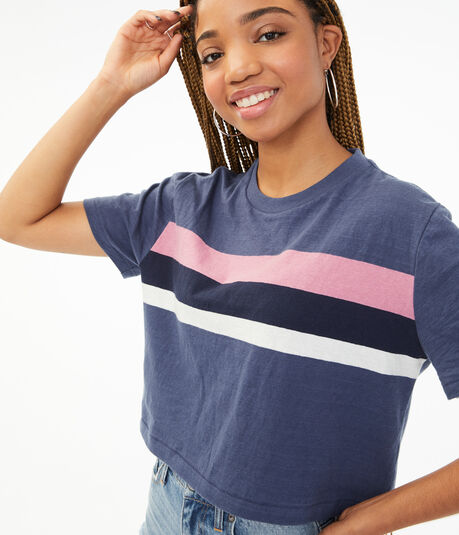 Striped Cropped Boxy Crew Tee