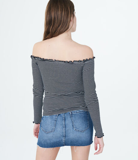 Long Sleeve Striped Lettuce-Trim V-Wire Off-The-Shoulder Top