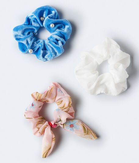 Tropical Flower Bow Scrunchie 3-Pack