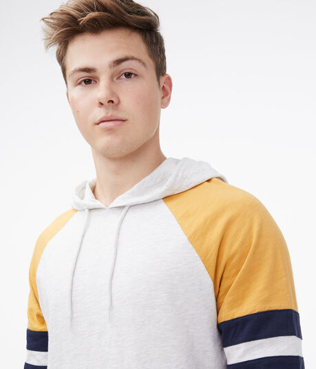 Long Sleeve Colorblocked Stripe Hooded Tee