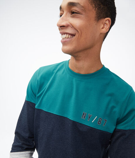 Long Sleeve Colorblocked Stretch Graphic Tee