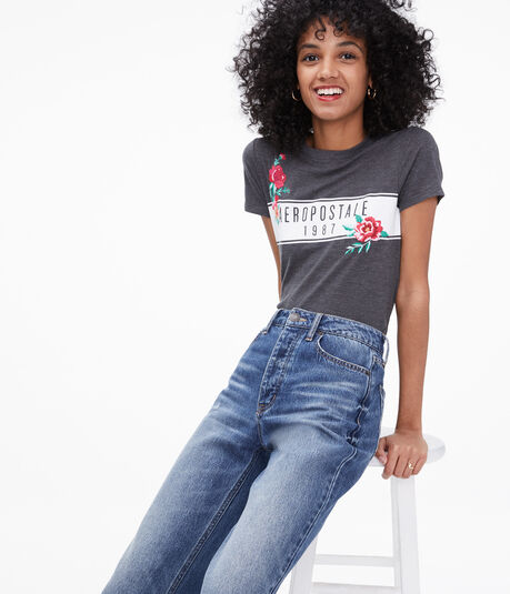 Aeropostale Embroidered Flowers Graphic Tee