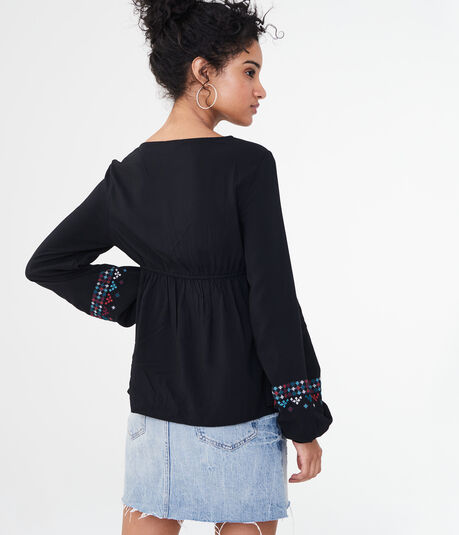 Long Sleeve Embroidered Lace-Up Peasant Top