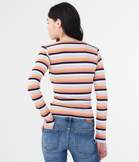 Long Sleeve Striped Square-Neck Bodycon Top