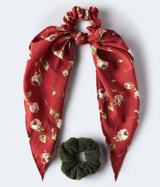 Chenille & Floral Scarf Scrunchie 2-Pack