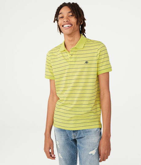 Thin Stripe Logo Jersey Polo