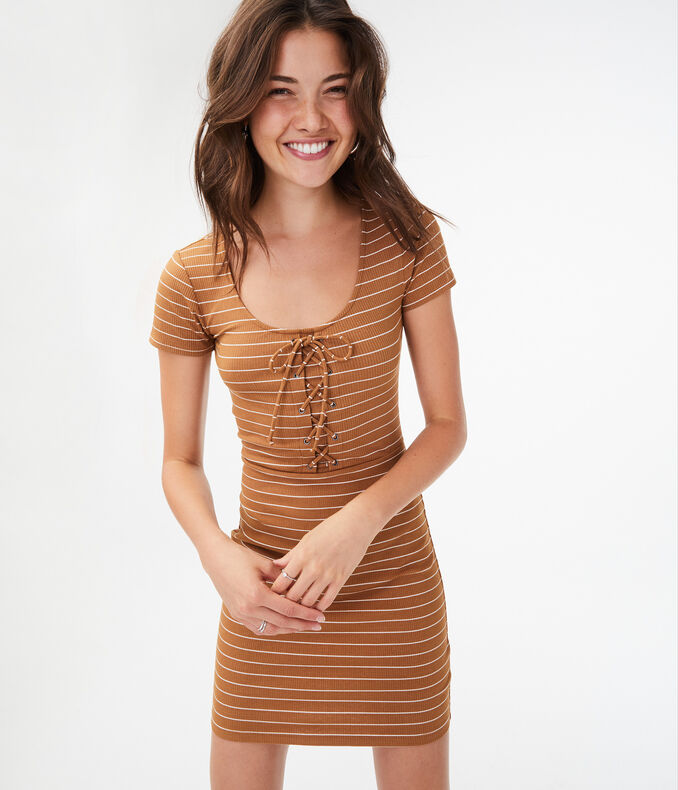 Seriously Soft Striped Lace-Up Bodycon Dress