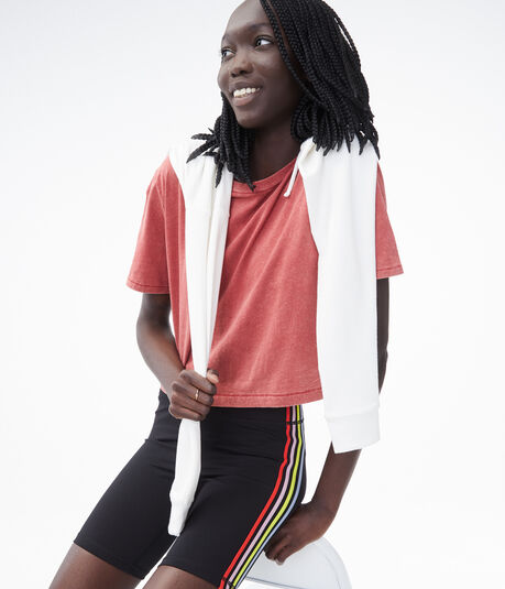 Mineral Wash Cropped Boxy Crew Tee
