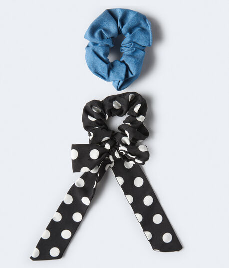 Polka Dot Bow & Denim Scrunchie 2-Pack