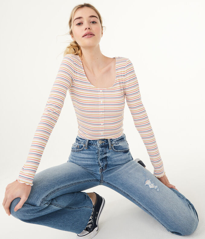 Long Sleeve Striped Lettuce-Trim Henley