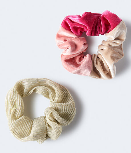 Colorblock & Metallic Scrunchie 2-Pack***