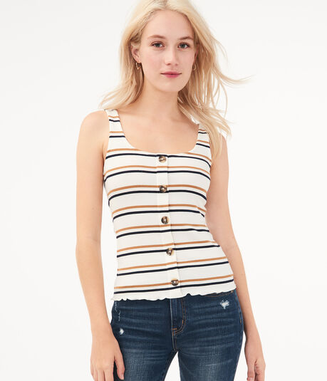 Seriously Soft Thin Stripe Buttoned Tank