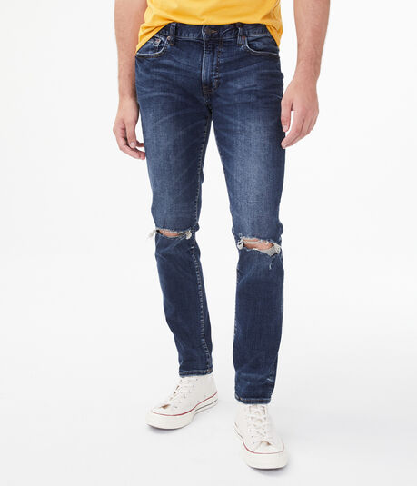 Slim Dark Wash Destroyed Stretch Jean