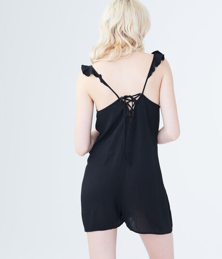Solid Embroidered Tie-Back Romper