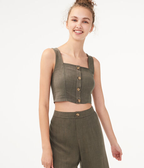 Buttoned Linen-Blend Crop Top