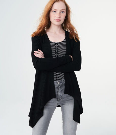 Solid Ribbed Waterfall Cardigan