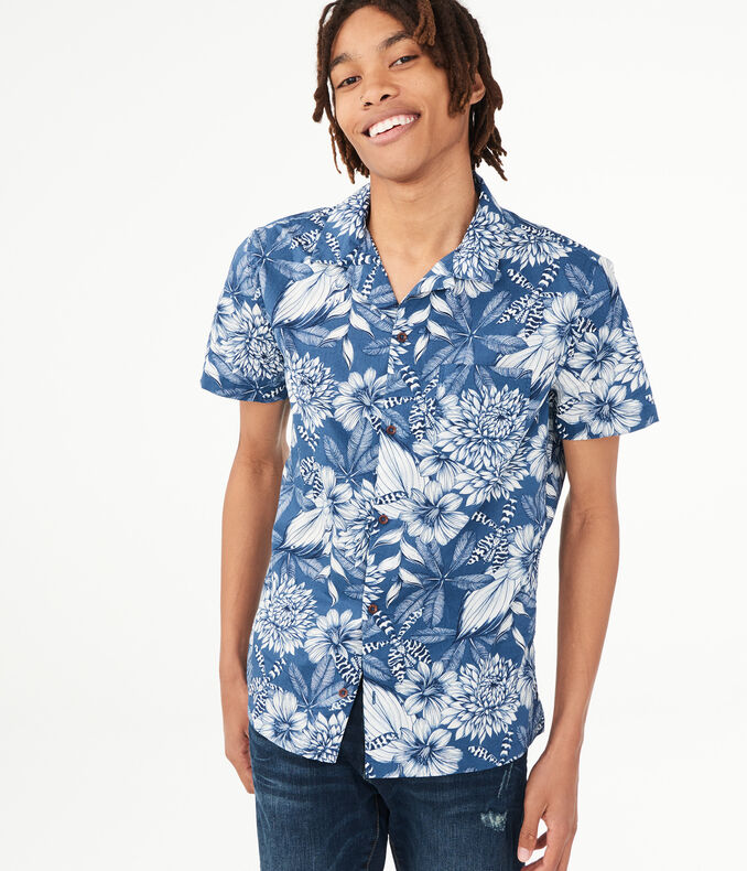 Tonal Floral Resort Button-Down Shirt