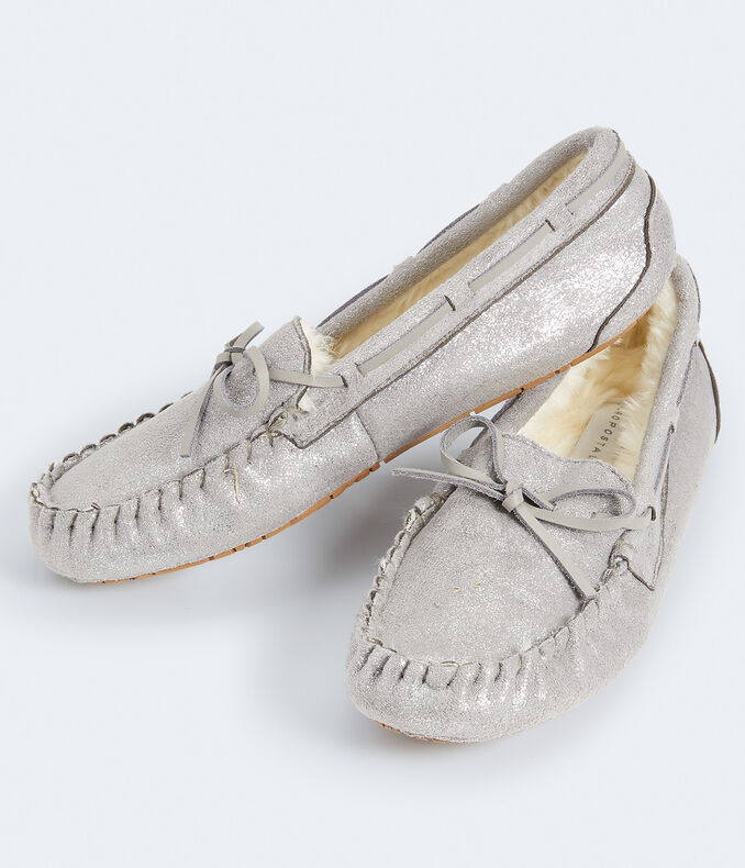 Metallic Faux Suede Moccasin