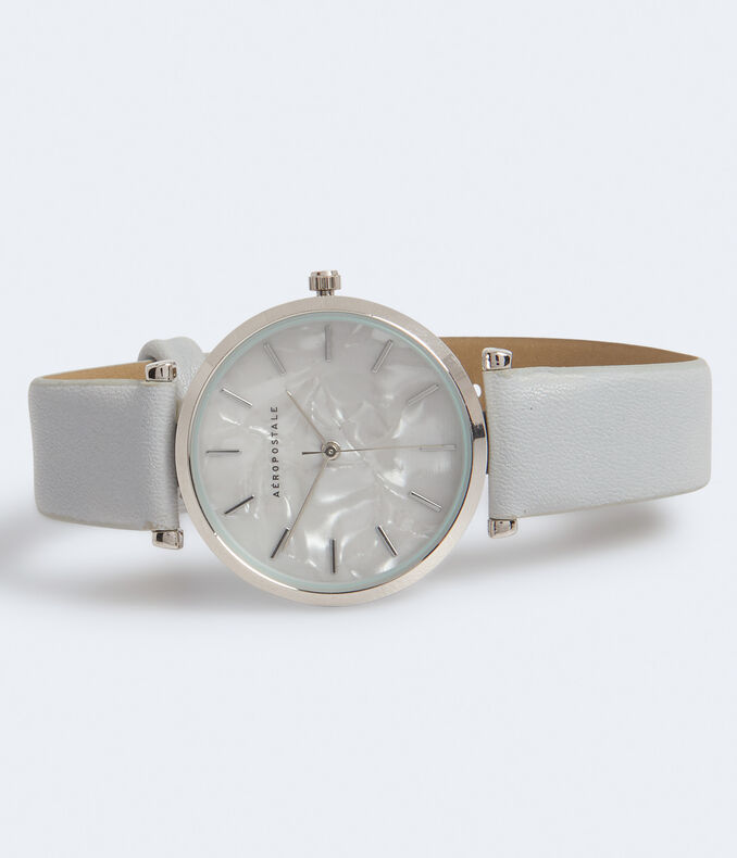 Marbleized Faux Leather Analog Watch***
