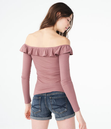Long Sleeve Solid Ruffle V-Wire Off-The-Shoulder Top