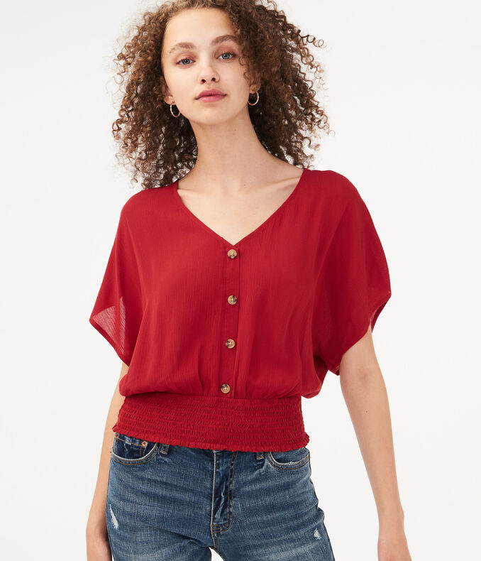 Smocked Button-Front Top