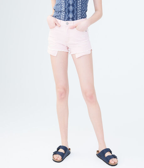 High-Waisted Color Wash Destroyed Denim Shorty Shorts