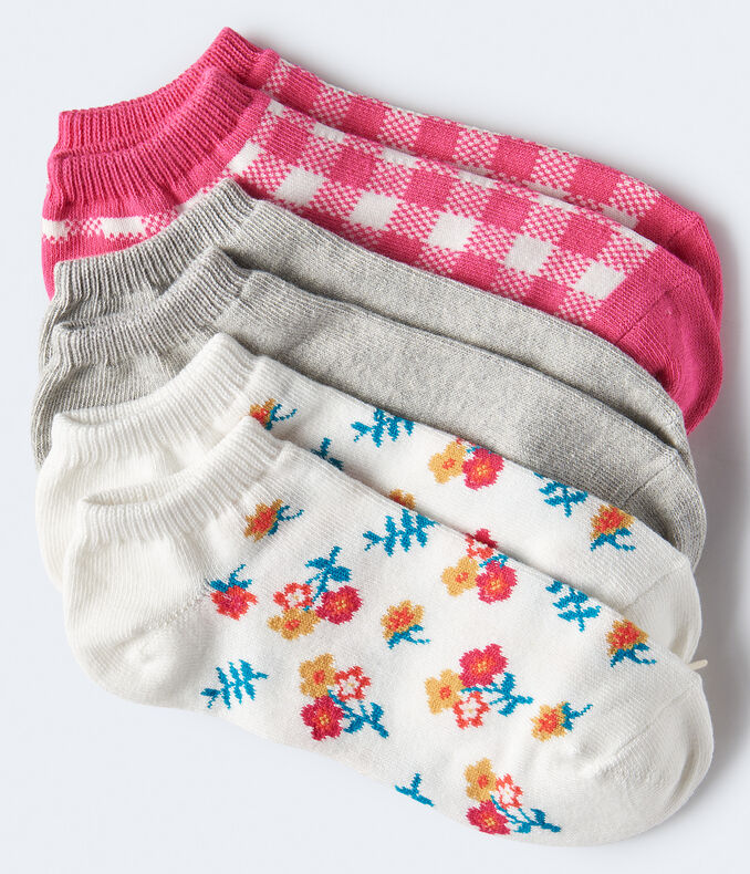3-Pack of Gingham, Floral & Solid Ankle Socks***