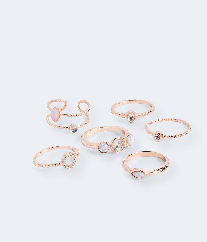 Marble, Rhinestone and Moonstone Ring 6-Pack