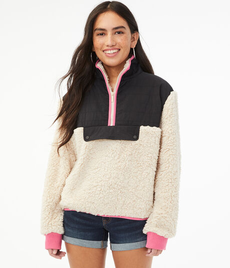 Colorblocked Sherpa Pullover Jacket