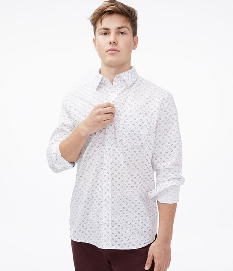 Long Sleeve Geometric Circle Button-Down Shirt