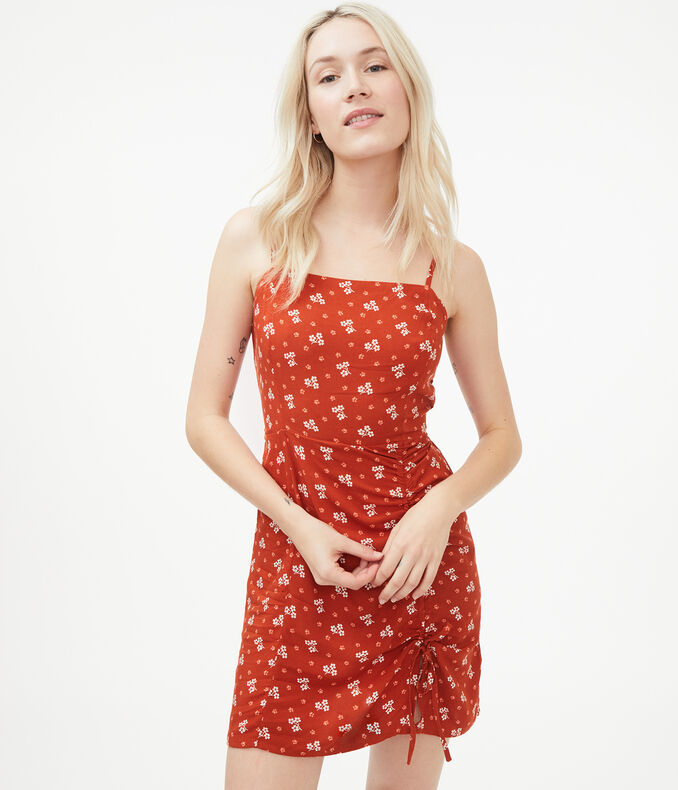 Floral Square-Neck Ruched Mini Dress