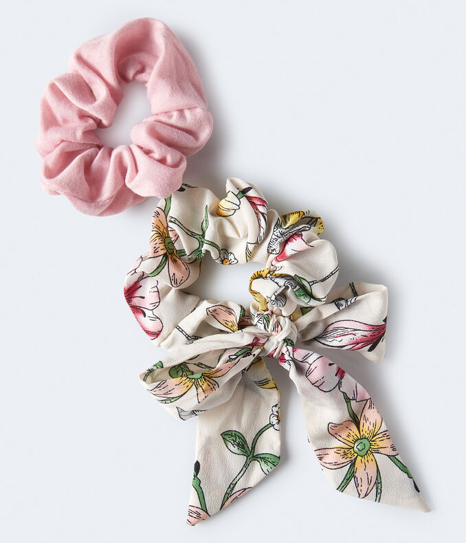 Floral & Solid Scrunchie 2-Pack