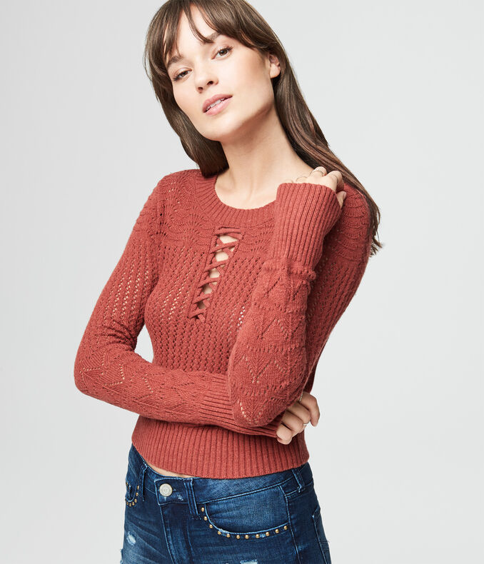 Lace-Up Crop Sweater