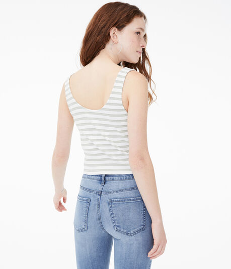 Striped Tie-Front Cropped Henley Tank***
