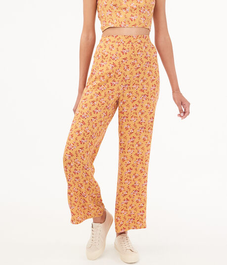High-Waisted Floral Wide-Leg Pants