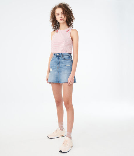 High-Rise Destroyed Denim Mini Skirt