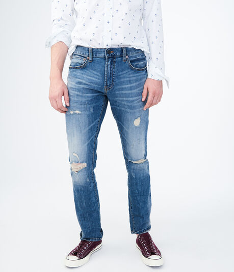 Slim Straight Medium Wash Destroyed Stretch Jean