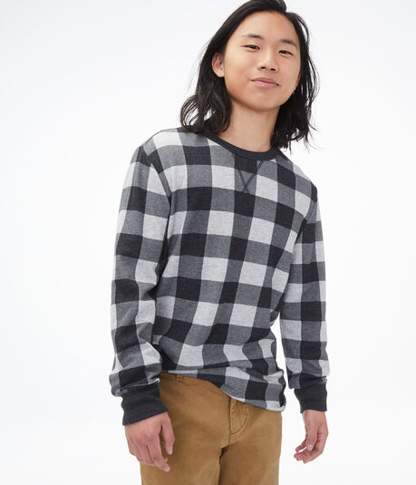 Long Sleeve Buffalo Check Crew Tee