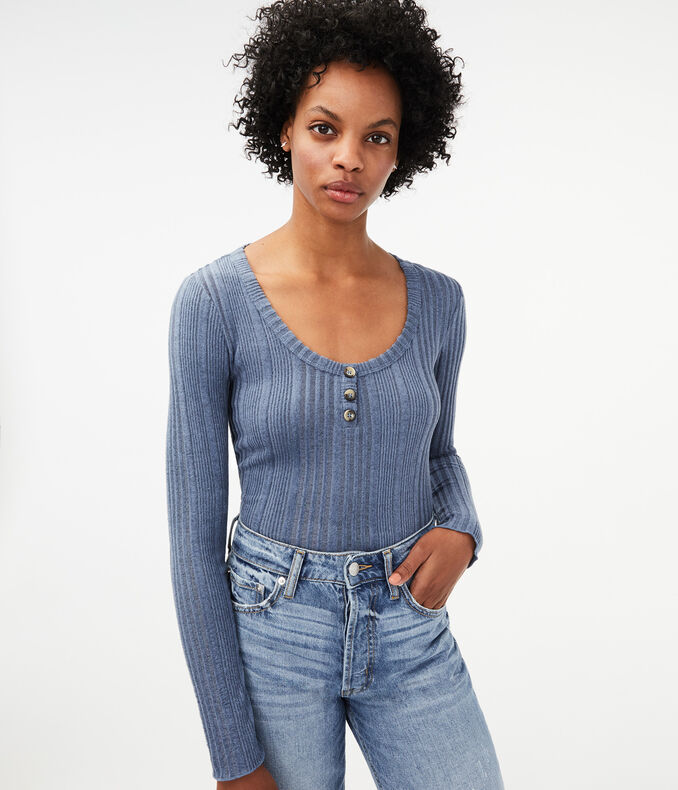 Long Sleeve Ribbed Henley by Aeropostale